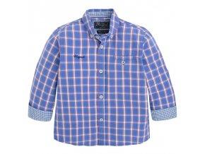 Košile s dlouhým rukávem kostka modro-oranžová MNI Mayoral